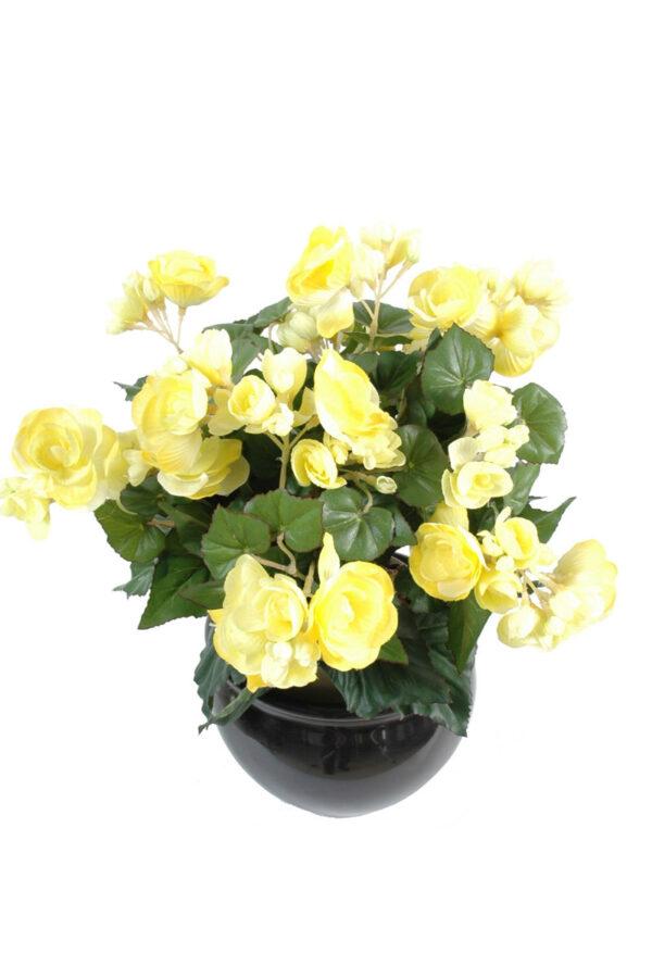 plante artificielle fleurie begonia jaune 3 1