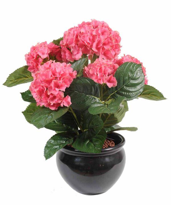 plante artificielle fleurie hortensia rose 1 1