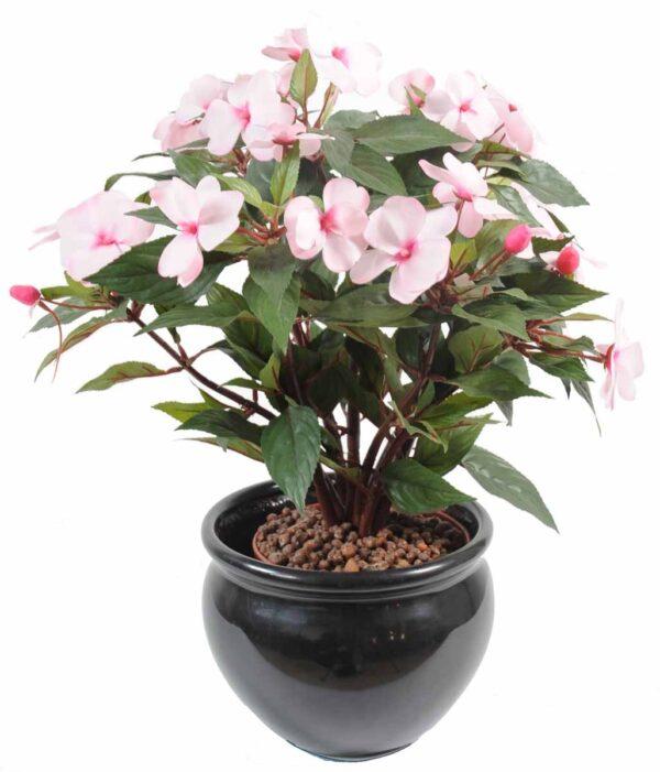 plante artificielle fleurie impatiens rose1 1