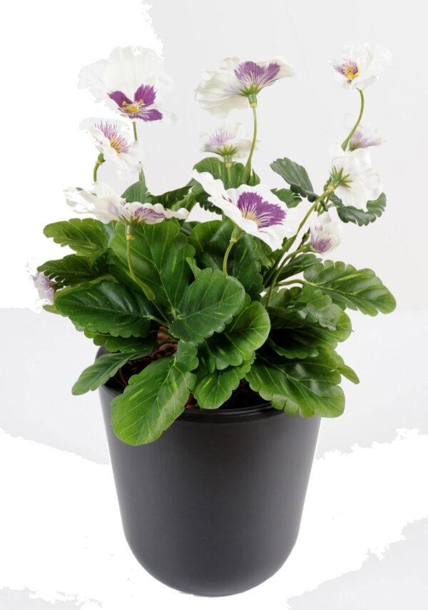 plante artificielle fleurie pensee creme mauve 1