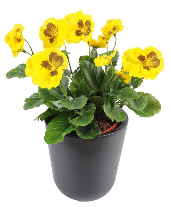 plante artificielle fleurie pensee jaune 1 1